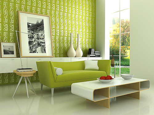 captivating modern living room design in green color ideas