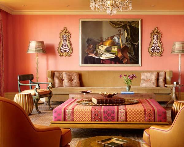 Modern Moroccan Decor Orange Wall Brown Divan